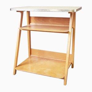 Petite Table d'Appoint en Hêtre et Formica Jaune, 1950s