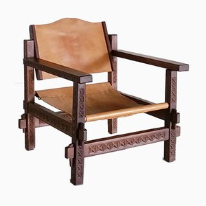 Wood and Leather Safari Lounge Chair, 1970s