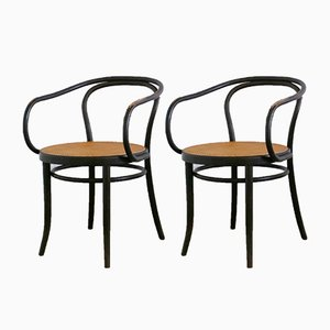 Bentwood & Rattan No. 209 Armchairs by Thonet for Ligna, 1960s, Set of 2