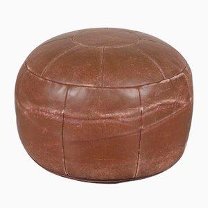 Puf de cuero marrón, años 60