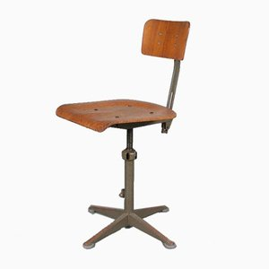 Dutch Adjustable Plywood Work Chair by Friso Kramer for Ahrend De Cirkel, 1950s