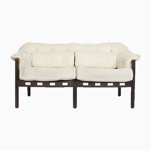Sofá de dos plazas en blanco de Arne Norell para Coja, años 70