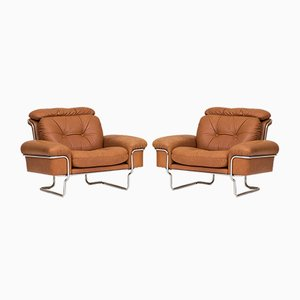 Leather & Chrome Lounge Chairs, 1960s, Set of 2