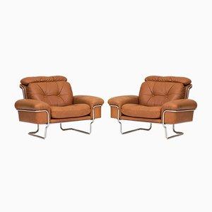 Sessel aus Leder & Chrom, 1960er, 2er Set