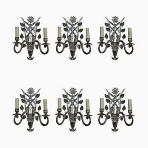 French Cut Glass & Silver Sconces, 1960s, Set of 6
