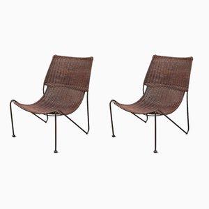 Beistellstühle aus Korbgeflecht von Frederick Weinberg, 1950er, 2er Set