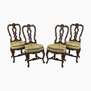 Chaises de Salle à Manger Antiques en Imitation Noyer, Set de 4