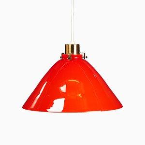 Deckenlampe aus orangefarbenem Glas, 1970er