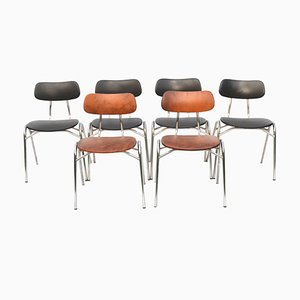 Stackable Leather Dining Chairs, 1960s, Set of 6