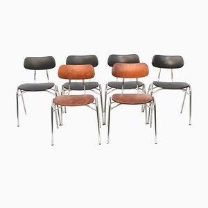 Stapelbare Esszimmerstühle mit Lederbezügen, 1960er, 6er Set