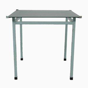 Mesa de comedor industrial de metal en azul, años 50