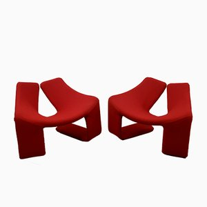 French Red Zen Lounge Chairs by Kwok Hoi Chan for Steiner, 1970s, Set of 2