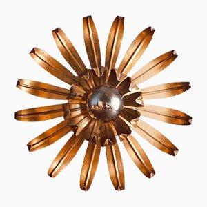 Französische Deckenlampe aus vergoldetem Metall, 1970er