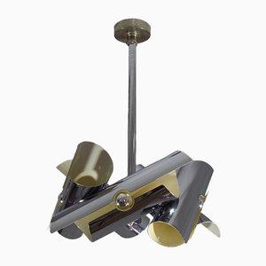Lámpara de techo de metal cromado, años 70
