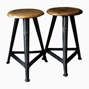Industrial Stools from Rowac, 1930s, Set of 2