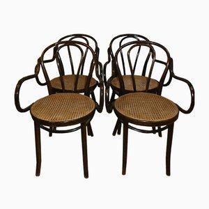 Chaises de Salle à Manger Mid-Century en Jonc Tressé, Set de 4