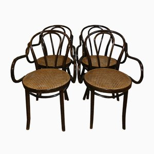 Mid-Century Woven Cane Dining Chairs, Set of 4