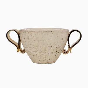 Vaso vintage in ceramica e oro di Kaza