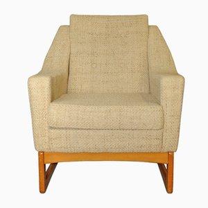 Modern Cream and Beech Armchair, 1960s