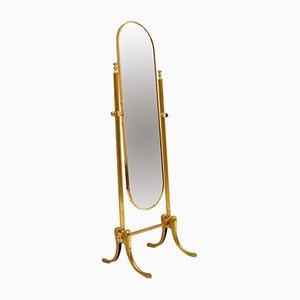 French Brass & Cheval Mirror, 1950s