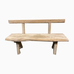 Antique French Rustic Bleached Oak Bench