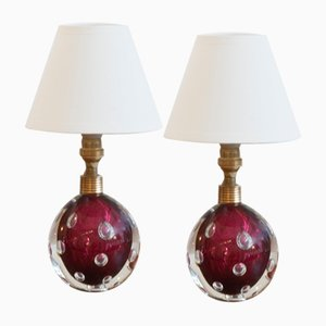 Mid-Century Red and Clear Murano Glass Table Lamps by Toso Pietro, Set of 2