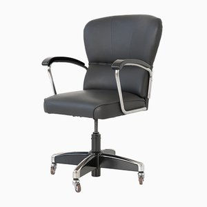 German Black Leather Desk Chair from Drabert, 1950s