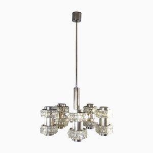 Lámpara colgante vintage de acero y vidrio