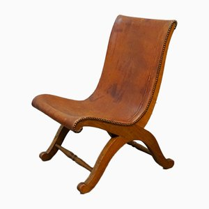 French Leather Side Chair, 1930s