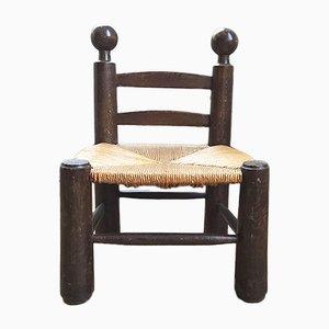 Kleiner Beistellstuhl aus Eiche & Strohgeflecht von Charles Dudouyt, 1920er