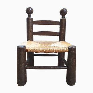 Small Oak and Straw Side Chair by Charles Dudouyt, 1920s