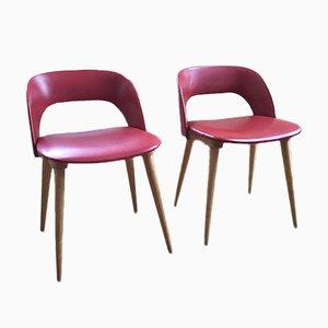 Esszimmerstühle aus rotem Kunstleder & Buche, 1960er, 2er Set