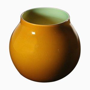 Gelbe italienische Glasvase von Venini, 1997