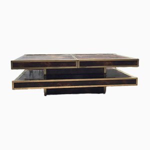Elm and Brass Coffee Table by Willy Rizzo, 1970s