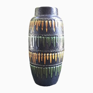 Dark Gray and Yellow Fat Lava Vase from Scheurich, 1950s