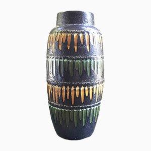 Vase Fat Lava Gris Foncé et Jaune de Scheurich, 1950s