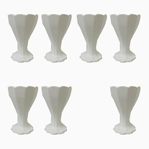 Antique Art Nouveau Ceramic Egg Cups by Adolf Behrmann for Max Roesler, Set of 7