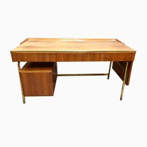 Scandinavian Modern Brass and Rosewood Desk, 1950s
