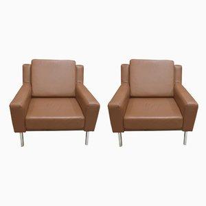 Moderne skandinavische Sessel aus Stahl & Leder, 1950er, 2er Set