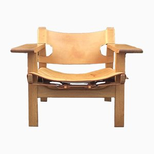Danish Model Spanish Oak Armchair by Børge Mogensen for Fredericia, 1960s
