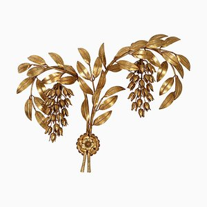 Gilt Metal Palm Tree Wall Light by Hans Kögl, 1970s