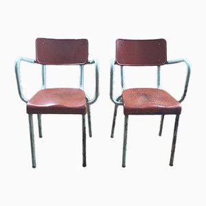 Metal Dining Chairs, 1950s, Set of 2