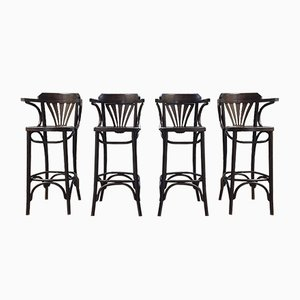 High Black Mahogany Stools, 1950s, Set of 4