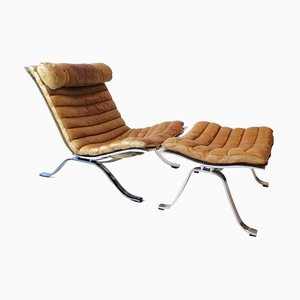 Brown Leather Lounge Chair and Ottoman by Arne Norell for Arne Norell AB, 1960s, Set of 2