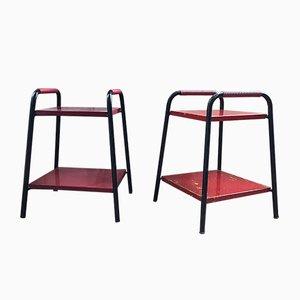 Rote Nachttische aus Metall, 1950er, 2er Set