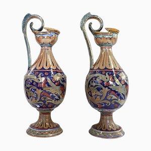 Majolica Vasen von Gualdo Tadino für Alberto Rubboli, 1920er, 2er Set