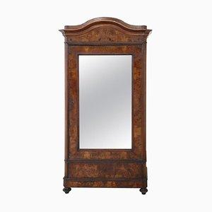 Antiker Kleiderschrank aus Nussholzfurnier mit Spiegel