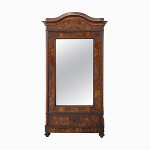 Antique Veneered Walnut Mirrored Wardrobe