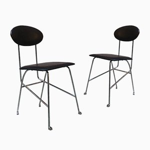 Italian Chromed Metal & Leather Dining Chairs by Alessandro Mendini for Zabro, 1980s, Set of 2