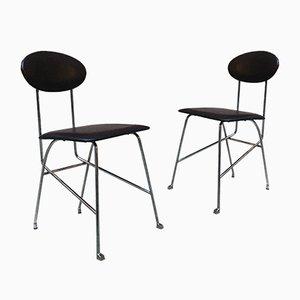 Italienische Esszimmerstühle aus verchromten Metall & Leder von Alessandro Mendini für Zabro, 1980er, 2er Set